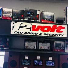 12 Volt Car Audio & Security sign and shelving